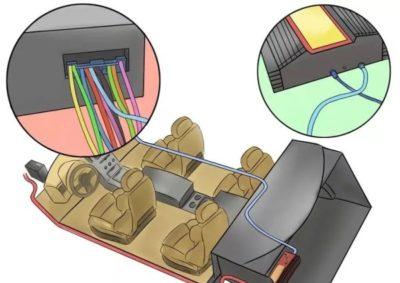 как подключить буфер в машину